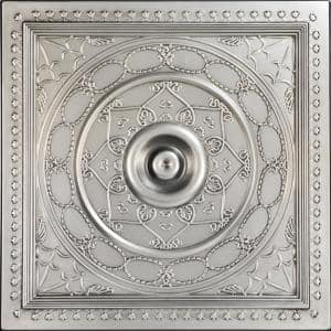 Downtown Antique Silver 2 ft. x 2 ft. PVC Glue-up or Lay-in Faux Tin Ceiling Tile (100 sq. ft./case)