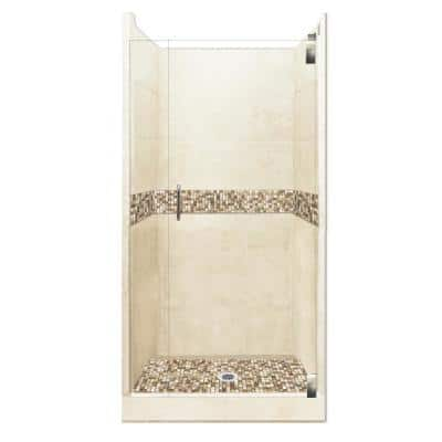Roma Grand Hinged 36 in. x 36 in. x 80 in. Center Drain Alcove Shower Kit in Desert Sand and Chrome Hardware