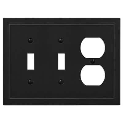 Bethany 3 Gang 2-Toggle and 1-Duplex Metal Wall Plate - Black
