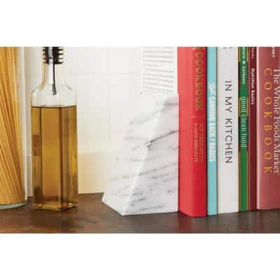 Marble White Triangle Bookends (Set of 2)