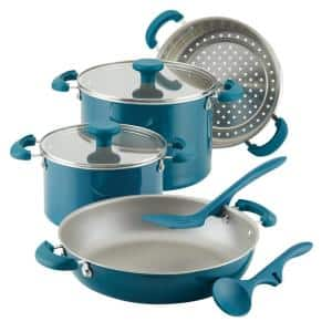 Create Delicious Stackable 8-Piece Aluminum Nonstick Cookware Set in Teal Shimmer