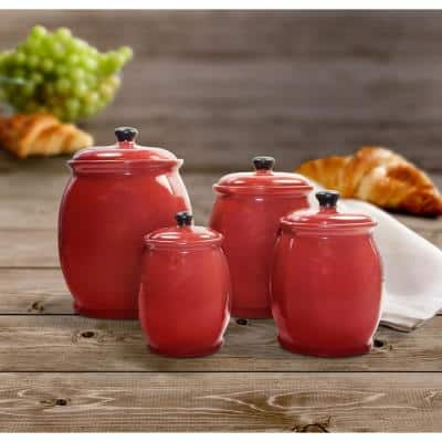 Hearthstone 4-Piece Chili Red Stoneware Canister Set with Lid