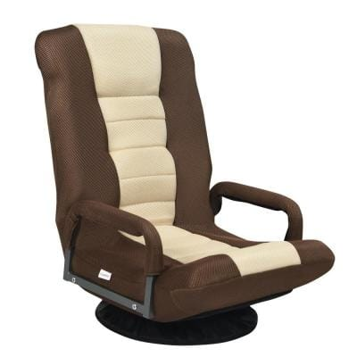 21.5 in. Brown Metal Frame 360-Degree Swivel Gaming Folding Chair with Adjustable Backrest