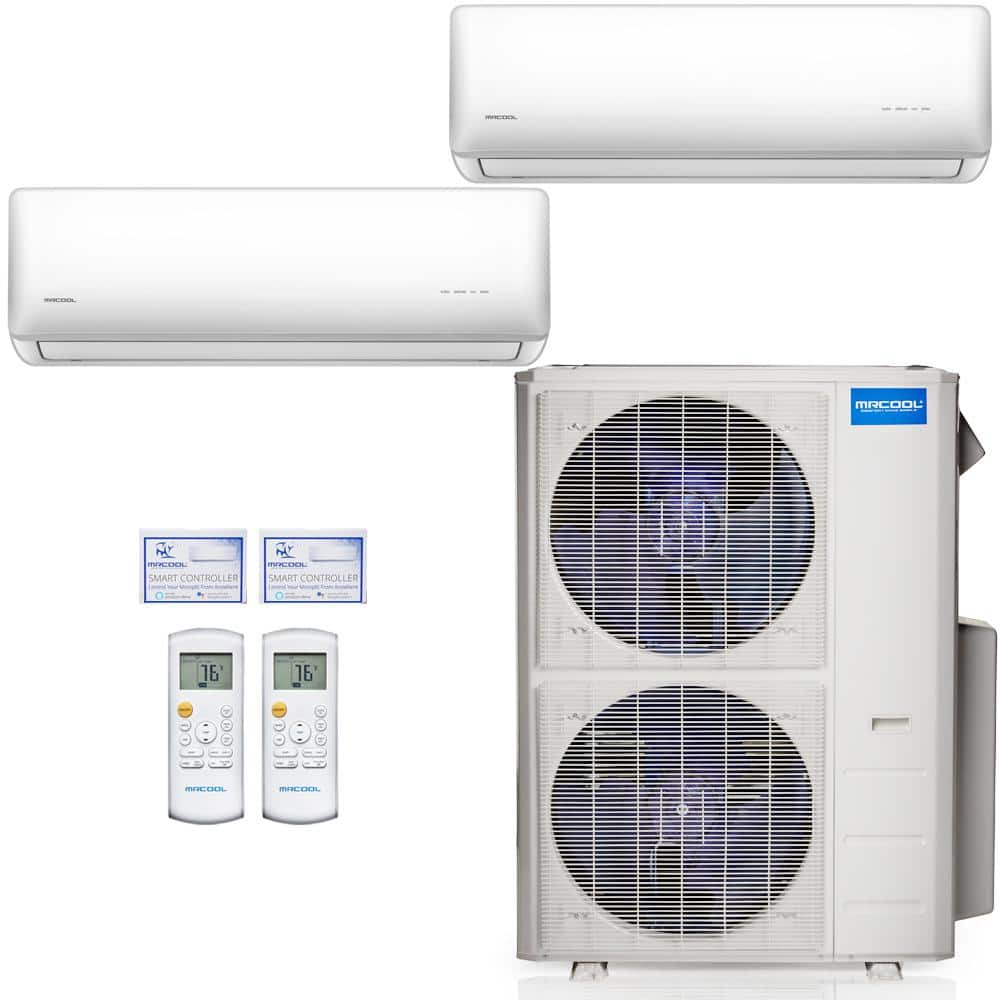 Mrcool Olympus 42 000 Btu 2 Zone 3 5 Ton Ductless Mini Split Air Conditioner And Heat Pump 25 Ft Install Kit 230v 60hz M248hp23wm08ak2 The Home Depot