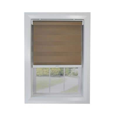 Brown Cordless Light Filtering Polyester Zebra Shade 36 in. W x 84 in. L