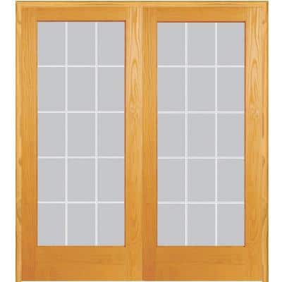 72 in. x 80 in. Both Active Unfinished Pine Glass 15-Lite Clear V-Groove Prehung Interior French Door