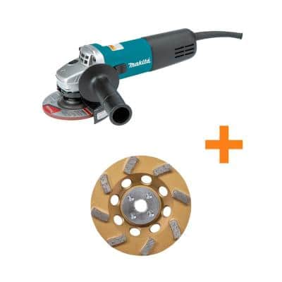 7.5 Amp Corded 4.5 in. Easy Wheel Change Compact Angle Grinder with bonus 4.5 in. 8 Turbo Segment Diamond Cup Wheel