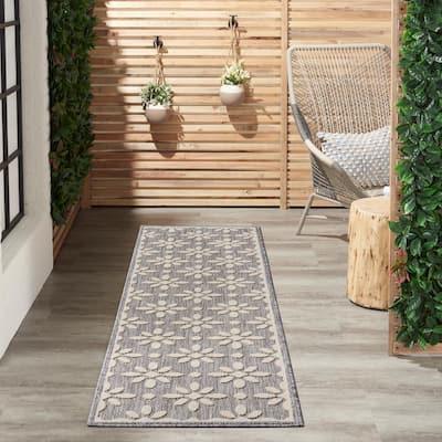 Palamos Grey 2 ft. x 10 ft. Geometric Contemporary Indoor/Outdoor Runner Rug