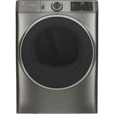 7.8 cu. ft. Smart 240-Volt Satin Nickel Stackable Electric Vented Dryer with Steam and Sanitize Cycle, ENERGY STAR