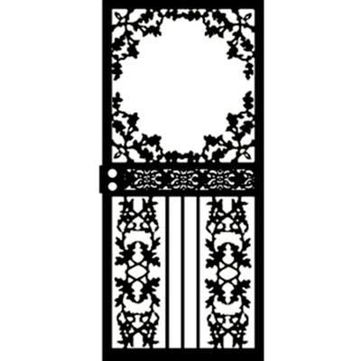 36 in. x 80 in. 461 Series Black Scenic Hinge Right Security Door