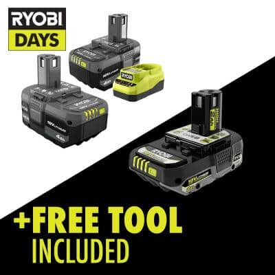 ONE+ 18V Lithium-Ion 4.0 Ah Compact Battery (2-Pack) and Charger Kit with Free 18V HIGH PERFORMANCE 2.0 Ah Battery