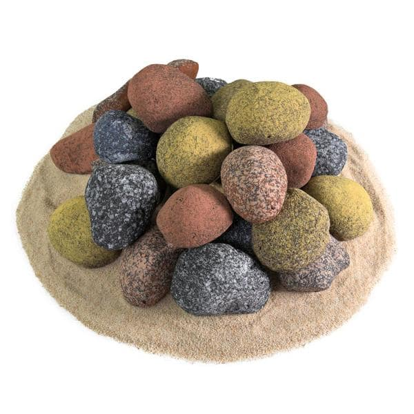 15XL MIXED GAS FIRE REPLACEMENT PEBBLES COALS STONES 70MMX 50 RCF CERTIFIED