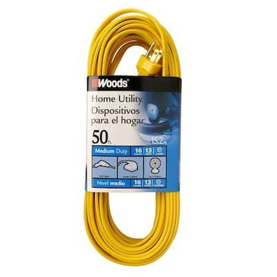 50 ft. 16/3 SPT-2 Flat Indoor Medium-Duty Utility Extension Cord, Yellow