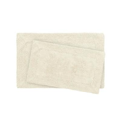 Solid Ruffled Bordered Shag Ivory 20 in. x 32 in. 2-Piece Set Bath Accent Rug