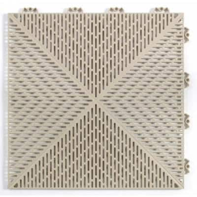 Unique  14.9 in. x 14.9 in. Sand, Commercial or Residential, Polypropylene Garage Flooring Tiles, 14 Tiles