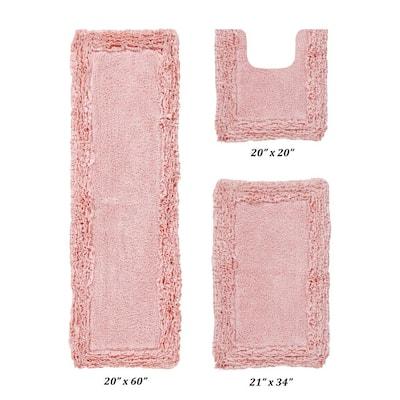 "Shaggy Border Collection 3 Piece Pink 100% Cotton Bath Rug Set - (20"" x 20"" : 21"" x 34"" : 20"" x 60"")"