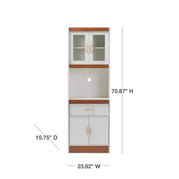 Baxton Studio Laurana White And Cherry Brown Kitchen Cabinet With Hutch 147 8317 Hd The Home Depot