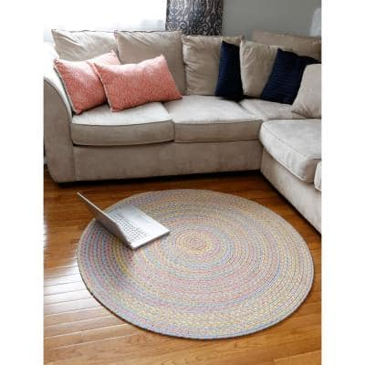 Play Date Pink Multi 4 ft. x 6 ft. Oval Indoor/Outdoor Braided Area Rug