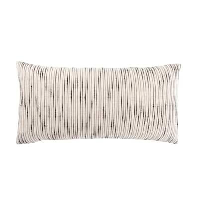 Saxon Stripe White/ Gray Polyester Lumbar 12 in. x 24 in.