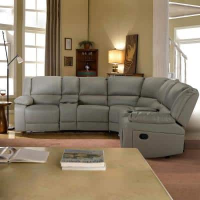 3 Piece 108.25 in. Gray PU Leather 5 Seats Symmetrical Mannual Motion Sofa Reclining Sectionals with Cup Holders
