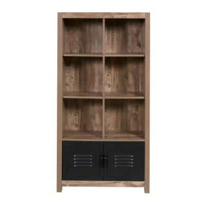 Norwood Range 59.45 in. Brown/Black Faux Wood 6-shelf Cube Bookcase with Doors