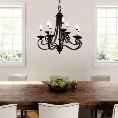 Barcelona 9-Light Hanging Natural Iron Chandelier