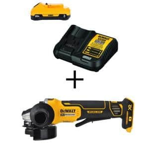 20-Volt MAX XR Cordless Brushless 4-1/2 in. Paddle Switch Small Angle Grinder with (1) 20-Volt 3.0Ah Battery & Charger