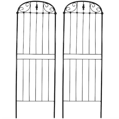 32 in. Black Steel Traditional Trellis (Set of 2)