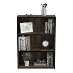 31.5 in. Columbia Walnut Wood 3-shelf Standard Bookcase with Storage