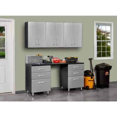 Metallic Series 90 in. H x 71 in. W x 21 in. D 6-Piece Workbench with 6-Sturdy Drawers and 3-Overhead Cabinet