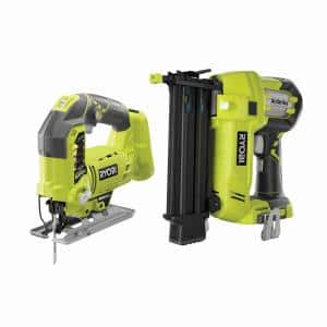 ONE+ 18V AirStrike 18-Gauge Cordless Brad Nailer with ONE+ 18V Cordless Orbital Jig Saw (Tools Only)