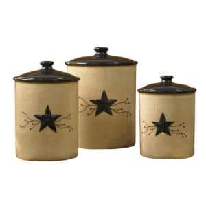 Star Vine Beige 3-Piece Ceramic Canister Set with Matching Airtight Lids