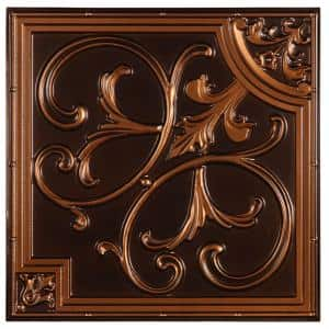 Madrid 2 ft. x 2 ft. Lay-in or Glue-up Ceiling Tile in Antique Copper (48 sq. ft. / case)