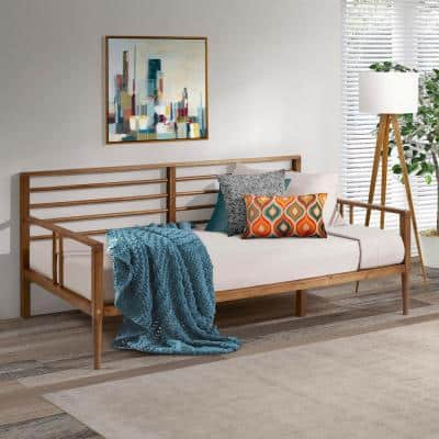 Modern Solid Wood Twin Spindle Daybed - Caramel