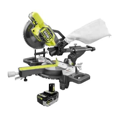 ONE+ 18V Cordless 7-1/4 in. Sliding Compound Miter Saw with HIGH PERFORMANCE Lithium-Ion 4.0 Ah Battery