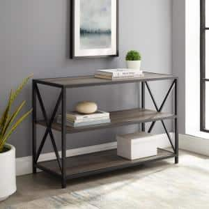26 in. Gray Wash/Black Metal 3-shelf Etagere Bookcase with Open Back