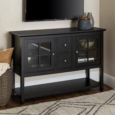 "52"" Transitional Wood Glass TV Stand Buffet - Black"