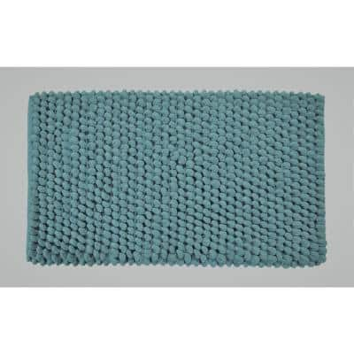 Bubbles Pattern 50 in. x 30 in. Cotton and Microfiber Blue Latex Spray Non-Skid Backing Bath Rug