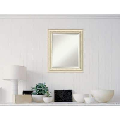 Medium Rectangle Rustic Whitewash Cream Casual Mirror (24.5 in. H x 20.5 in. W)
