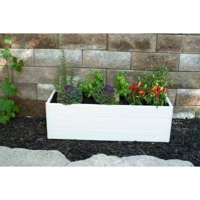 Terrace Garden Box 36.5 in. x 13 in. x 11.5 in. White