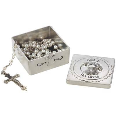 Silver Zinc Alloy Held In His Arms Baptism Keepsake Box With Rosary