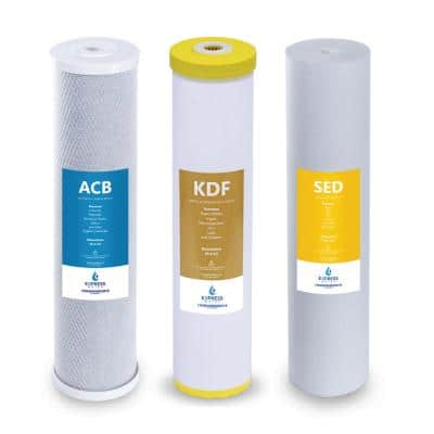 """Whole House Heavy Metal Water Filter Set - Sediment, Carbon Block, KDF - 5 Micron - 4.5"""" x 20"""" inch"""