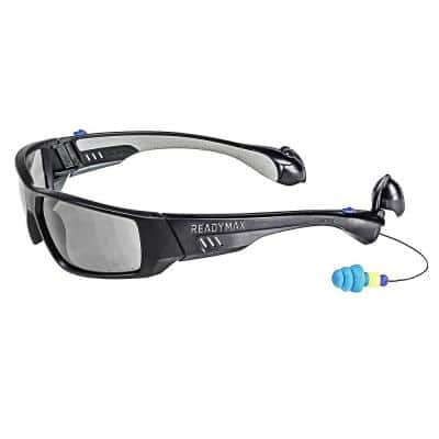 Pro Series 1 Safety Glasses Black Frame Grey Lens with NRR 25 db Silicone PermaPlugs