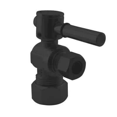 5/8 in. IPS x 3/8 in. O.D. Compression Outlet Angle Stop with 1/4-Turn Lever Handle, Matte Black