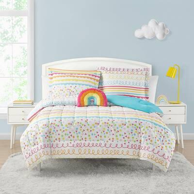 Color Pop Rainbow Orange, 4-Piece Brushed Microfiber Comforter Set-Full