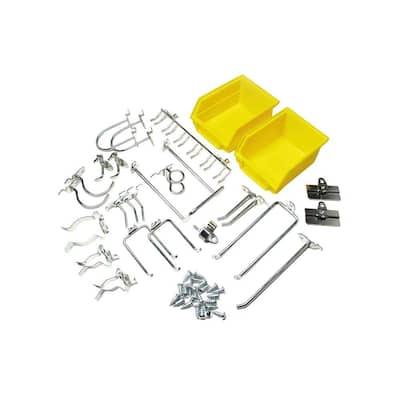 DuraHook 26-Piece Zinc Plated Steel Hook and Bin Assortment for DuraBoard (24-Assortment Hooks and 2-Bins)