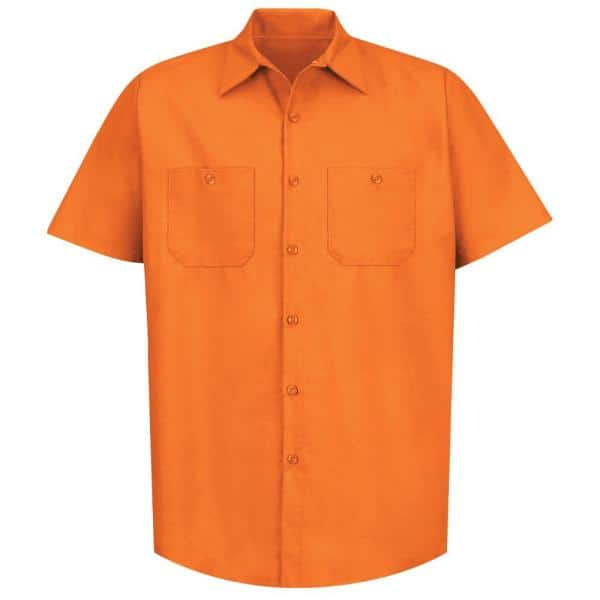 Red Kap Men S Size 2xl Orange Industrial Work Shirt Sp24or Ss Xxl The Home Depot