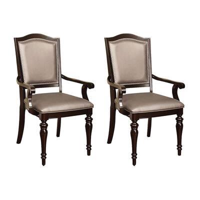 Harrington Dark Walnut Transitional Style Arm Chair