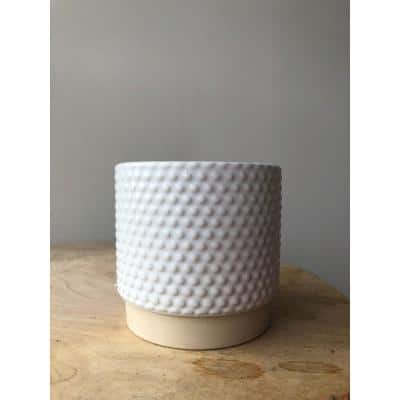 3.1 in. White Ceramic Enso Bubbles Planter