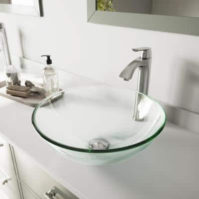 Glass Round Vessel Bathroom Sink in Iridescent with Linus Faucet and Pop-Up Drain in Brushed Nickel